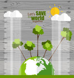 ECO FRIENDLY. Ecology concept with globe and tree background. Ve. Ctor illustration vector illustration