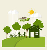ECO FRIENDLY. Ecology concept with Green Eco Earth and Trees. Ve Royalty Free Stock Photo