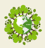 ECO FRIENDLY. Ecology concept with Green Eco Earth and Trees. Ve Stock Image