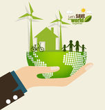 ECO FRIENDLY. Ecology concept with Green Eco Earth and Trees. Ve Royalty Free Stock Photography