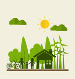 ECO FRIENDLY. Ecology concept with Green Eco Earth and Trees. Ve Royalty Free Stock Images