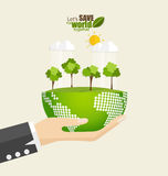 ECO FRIENDLY. Ecology concept with Green Eco Earth and Trees. Ve Royalty Free Stock Photos