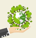 ECO FRIENDLY. Ecology concept with Green Eco Earth and Trees. Ve Royalty Free Stock Image