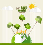 ECO FRIENDLY. Ecology concept with Green Eco Earth and Trees. Ve Stock Photography