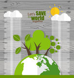 ECO FRIENDLY. Ecology concept with Green Eco Earth and Trees. Ve Stock Photo
