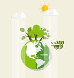 ECO FRIENDLY. Ecology concept with Green Eco Earth and Trees. Ve. Ctor illustration Stock Images