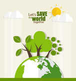 ECO FRIENDLY. Ecology concept with Green Eco Earth and Trees. Ve Stock Photos