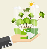 ECO FRIENDLY. Ecology concept with Green Eco Earth and Trees. Ve Stock Images