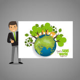 ECO FRIENDLY. Ecology concept with Green Eco Earth and Trees.  Royalty Free Stock Photos