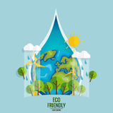 ECO FRIENDLY. Ecology concept with Green Eco Earth and Trees.  Royalty Free Stock Photo