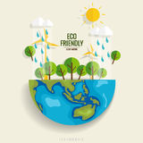 ECO FRIENDLY. Ecology concept with Green Eco Earth and Trees.  Stock Image