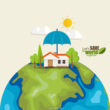 ECO FRIENDLY. Ecology concept with Green Eco Earth and Trees.  Stock Photography