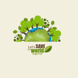 ECO FRIENDLY. Ecology concept with Green Eco Earth and Trees.  Stock Photos
