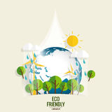 ECO FRIENDLY. Ecology concept with Green Eco Earth and Trees.  Stock Images