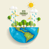 ECO FRIENDLY. Ecology concept with Green Eco Earth and Trees.  Royalty Free Stock Photography