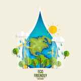 ECO FRIENDLY. Ecology concept with Green Eco Earth and Trees.. Vector illustration Stock Image
