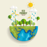 ECO FRIENDLY. Ecology concept with Green Eco Earth and Trees.. Vector illustration Royalty Free Stock Images