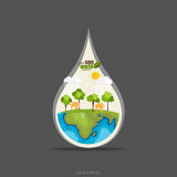 ECO FRIENDLY. Ecology concept with Green Eco Earth and Trees.. Vector illustration Stock Photography