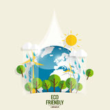 ECO FRIENDLY. Ecology concept with Green Eco Earth and Trees.. Vector illustration Royalty Free Stock Photography