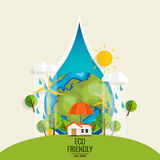 ECO FRIENDLY. Ecology concept with Green Eco Earth and Trees.. Vector illustration Stock Photos