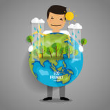 ECO FRIENDLY. Ecology concept with Green Eco Earth and Trees.. Vector illustration Royalty Free Stock Photo