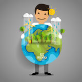 ECO FRIENDLY. Ecology concept with Green Eco Earth and Trees. Vector illustration Stock Images