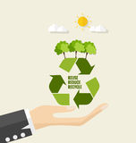 ECO FRIENDLY. Ecology concept with Recycle symbol and tree. Vect Stock Image