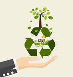ECO FRIENDLY. Ecology concept with Recycle symbol and tree. Vector illustration. stock illustration