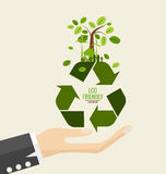 ECO FRIENDLY. Ecology concept with Recycle symbol and tree. Vect Royalty Free Stock Photography