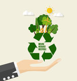 ECO FRIENDLY. Ecology concept with Recycle symbol and tree. Vect Stock Photo