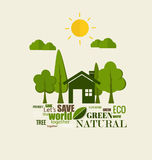 ECO FRIENDLY. Ecology concept with tree background. Vector illus Royalty Free Stock Image