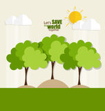 ECO FRIENDLY. Ecology concept with tree background. Vector illus Stock Photography