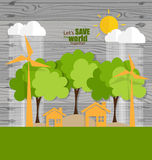 ECO FRIENDLY. Ecology concept with tree background. Vector illus Stock Image