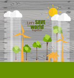 ECO FRIENDLY. Ecology concept with tree background. Vector illus Stock Photos