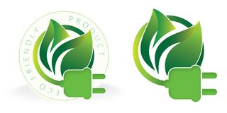 Eco Friendly Electricity Logo Solar. Eco Friendly Electricity Logo Art Icon with plug and green leaves seal certification royalty free illustration
