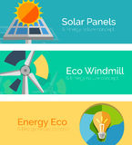 Eco-friendly energy flat design concepts, banners Stock Photography