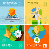 Eco-friendly energy flat design concepts, banners Stock Photo