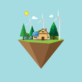 Eco friendly environment concept flat design. Eco friendly and nature landscape concept flat design with green energy ecological and nature conservation concept Royalty Free Stock Photos