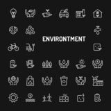 Eco-Friendly Environment Simple Line Icon Set stock image