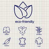 Eco-friendly fabric feature icons. Eco-friendly fabric feature vector icons. Line icons of cotton wool silkleather and feather Royalty Free Stock Photo