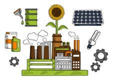 Eco friendly factory with energy saving symbols Stock Photography