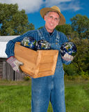 Eco Friendly Farmer Going Green. An eco friendly farmer who is going green holds his crop harvest of the planet earth Stock Photo