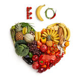 Eco friendly food choices. Studio photography of heart made from different foods - on white background Royalty Free Stock Photos