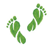 Eco Friendly Footprints. Vector illustration of footprints made of grass in the shape of leaves. Represents an eco friendly concept vector illustration