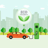 Eco friendly fuel concept. Electric car charging station. EV rec. Harging point or EVSE. Plug-in vehicle getting energy from battery supply royalty free illustration