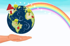 Eco-friendly future. Fight against global warming and save our green planet, Earth. With beautiful rainbow and room for your text. Vector illustration saved as Stock Photos