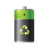 Eco friendly green battery in silver look Royalty Free Stock Images