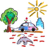 Eco friendly green car. A green car fueled directly from a tree, leaving fossil fuel unused under it. hand drawn on white background Stock Image