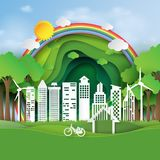 Eco friendly and green city paper art style. Nature landscape of environment conservation concept design.Vector illustration Royalty Free Stock Photos