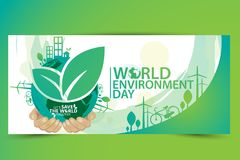 World Environment concept. Let`s Save the World Together vector illustration Stock Images